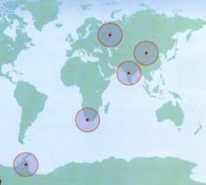 Карта расположения листозавров