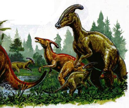 Самка паразауролофа справа охраняет