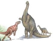 Брахиозавр защищает своего детеныша