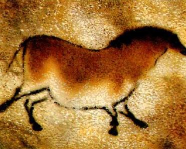 Пещерный человек нарисовал лошадь