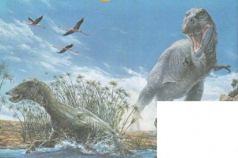 Голодный хищник напал на эдмонтозавра